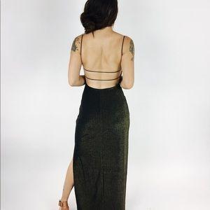 90's Gold Sparkle Maxi Evening Dress